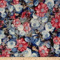 Telio Venice Stretch ITY Knit Floral Blue/Red