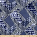 Italian Designer Rayon Jersey Knit Patchwork Navy