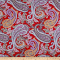 Italian Designer Rayon Jersey Knit  Large Paisley Red