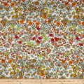 French Designer Rayon Challis Floral Navy/Coral