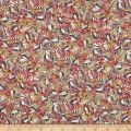 French Designer Rayon Challis Tropical Floral/ Leaves Pink/Orange/Yello