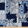French Designer Rayon Crepe Swirl/Geo Patchwork Blue/White