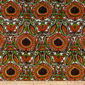 Italian Designer Silk Damask Orange/Green/Brown