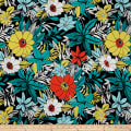 French Designer Silk Floral Black/Teal/Coral/Multi