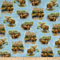 QT Fabrics By Water's Edge Moose Vignettes Blue