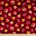 QT Fabrics Sophia Spaced Floral Dark Cranberry