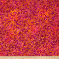 Primo Batiks Red Sky Small Leaves Red