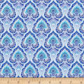 Timeless Treasures Dutchess Metallic Packed Medallion Blue