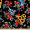 Timeless Treasures Garden Journal Spaced Bouquets Black