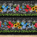 "Timeless Treasures Garden Journal 9.5"" Floral Stripe Black"