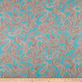 Fabric Merchants Cotton Spandex Jersey Knit Paisley Blue/Brown