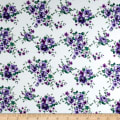 Cotton Stretch Poplin Floral Ivory/Purple
