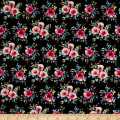 Cotton Stretch Poplin Floral Black/Fuschia