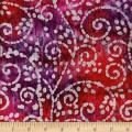 Indian Batik Crinkle Cotton Scroll Red/Purple