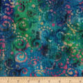 Indian Batik Crinkle Cotton Scroll Aqua/Teal