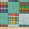 Cotton Patchwork Madras Teal