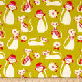 Cotton + Steel Beauty Shop Fancy Cats Yellow