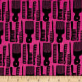 Kaufman Build A Bouffant Digital Print Combs Pink
