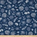 Kaufman Botanical Beauty Digital Print Flowers Indigo