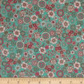 Cosmo Garden Delight Outlined Flowers Lawn Turquoise