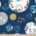 Kaufman Whiskers and Tails Metallic Geo Cats Indigo