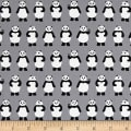 Kaufman Sevenberry Mini Prints Pandas Grey