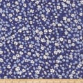 Kaufman Digitally Printed Rayon Lawn Ditsy Flower Indigo