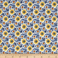 Chicken Scratch Flowers and Vines Tan/Blue