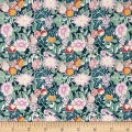 Liberty Fabrics Kensington Crepe de Chine Bourdeaux Turquoise/Light Pink