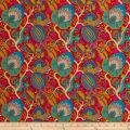 Liberty Fabrics Kensington Crepe de Chine Citronella Teal/Red/Multi