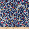 Liberty Fabrics Kensington Crepe de Chine Huckleberry Blue/Coral/Grey