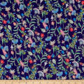 Liberty Fabrics Regent Silk Chiffon Temptation Meadow Midnight Blue/Pink/Green