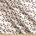 Liberty Fabrics Belgravia  Silk Satin Charmeuse Strawberry Fields Cherry/Cream