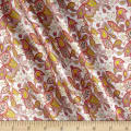 Liberty Fabrics Belgravia  Silk Satin Charmeuse Lemon Flowers Peach/Pink