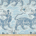 Clarence House Tibet Print 100% Linen Pale Blue