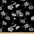 Crinkle Challis Wildflower Black/White
