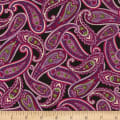 Timeless Treasures Wild Orchid Paisley Black
