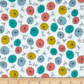 Modern Retro Flowers Turquoise