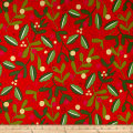 Alexander Henry Christmas Time Merry Mistletoe Red Metallic