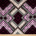 Italian Digital Tribal Print Hatchi Sweater Knit Purple /Creme/Taupe