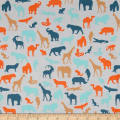 Stof Fabrics Denmark Avalana Jersey Knit Jungle Animals Grey