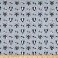 Stof Avalana Jersey Knit Fox & Bear Faces On Grey Ground