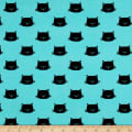 Stof Avalana Jersey Knit Cat Faces Black/Turquoise