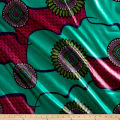 Supreme Bazin African Print 6 Yards Green/Red/Teal