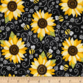 Timeless Treasures You Are My Sunshine Sunflower & Bee Chalkboard Black