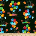 Timeless Treasures Birthday Party Dachshunds with Balloons Black