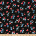 Double Brushed Poly Spandex Jersey Knit Floral Black/Blue/Coral