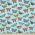 Bookshelf Botanical  Butterflies Aqua Metallic