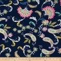 Telio Colorado Print Poly Faille Paisley Dark Navy
