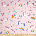Kaufman Happy Little Unicorns Unicorns Rainbows/ Pink